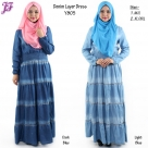 New Denim Layer Long Dress Y805 for Aug 2014