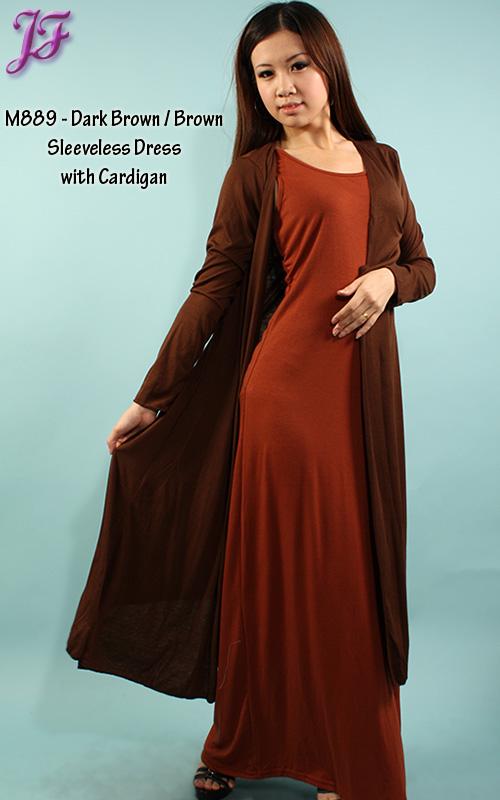Restock of Sleeveless Dress with Long Cardigan – M889 | | JF Fashion