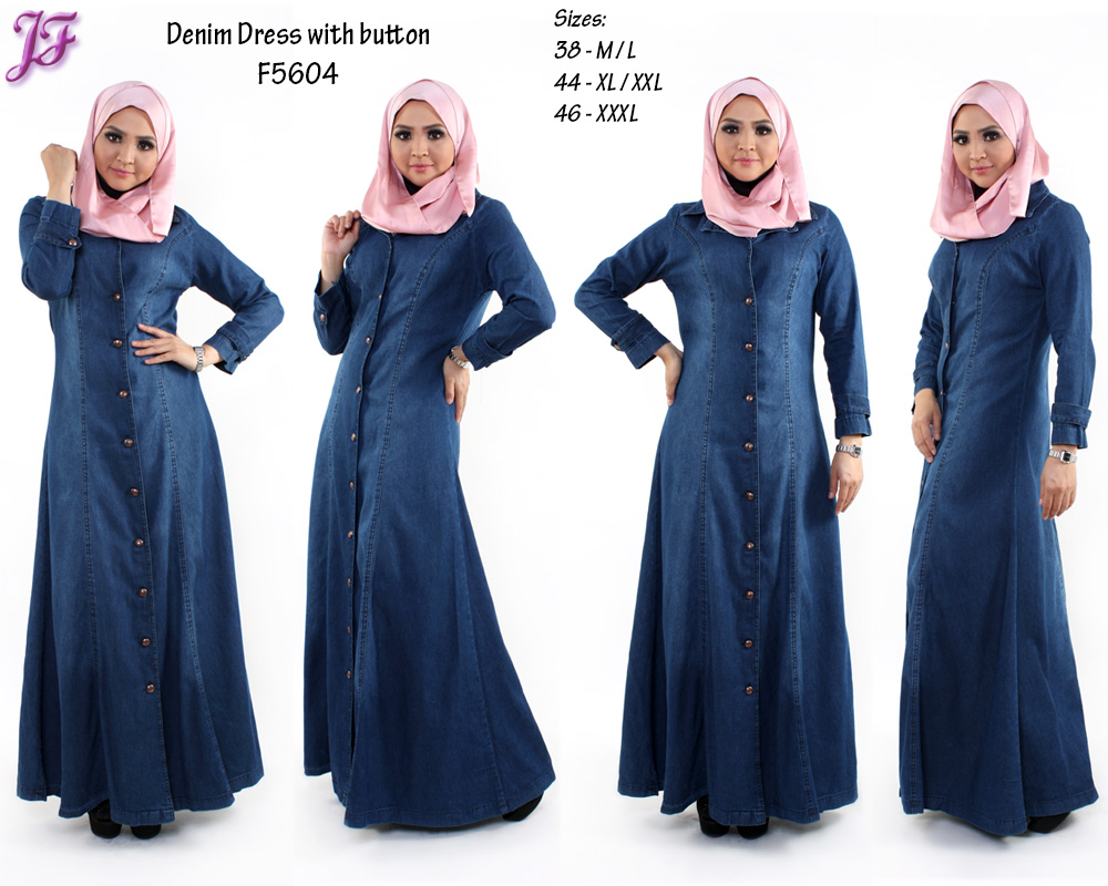 Denim maxi dress muslimah